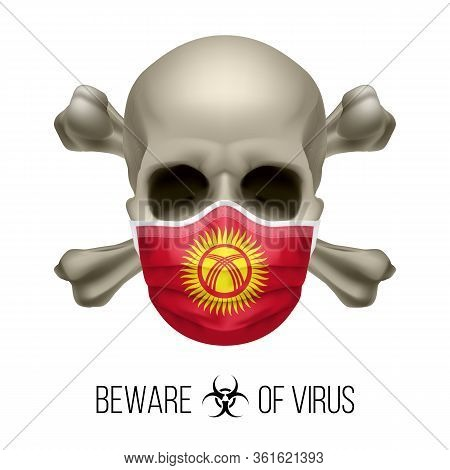 Human Skull With Crossbones And Surgical Mask In The Color Of National Flag Kyrgyzstan. Mask In Form