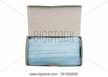 Top View Of Box With 50 Pcs Of Surgical Disposable Face Mask 3-ply With Earloop Isolated On White Ba