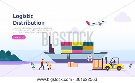 Global Logistic Distribution Service Illustration Concept. Delivery Worldwide Import Export Shipping