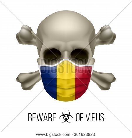 Human Skull With Crossbones And Surgical Mask In The Color Of National Flag Romania. Mask In Form Of