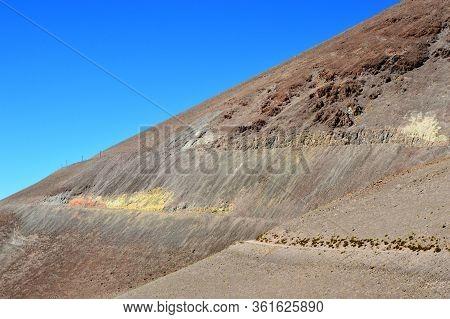 Dangerous Ledge Path To Descend Form Chuculaqui To Caipe. Salta, Argentina