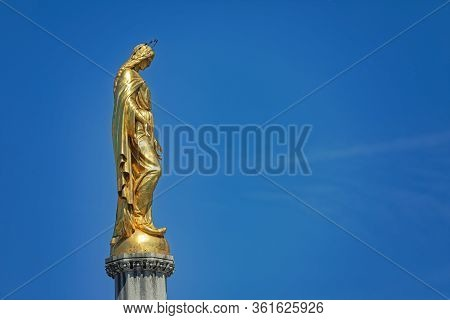 Zagreb, Croatia - April 16, 2020 : Detail Of The Monument Of The Assumption Of The Blessed Virgin Ma