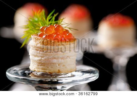 Tartlets With Red Caviar