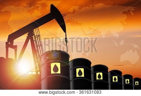 3d Illustration Of Pump Jack Silhouette And Oil Barrel Drums Against A Sunset Sky With World Map And