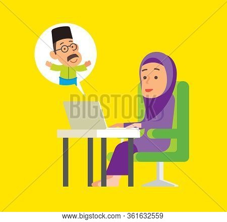 Social Distance. Muslim Woman Stay Connecting With Muslim Man Trough Social Media With Laptop. Malay