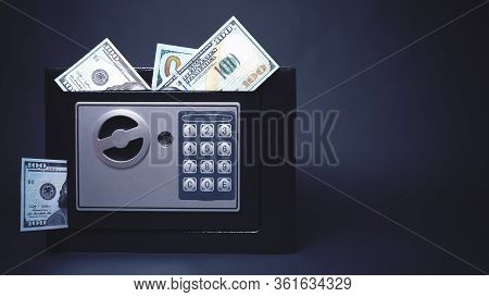 Cash Money Safe Deposit. Symbol Of Wealth And Safety. Small Residential Vault With Protruding Dollar