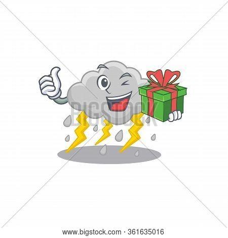 Smiling Cloud Stormy Cartoon Character Having A Green Gift Box