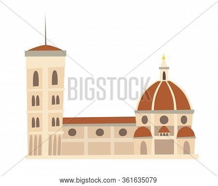 Rome, Italy Architecture Landmark Vector Illustration. The Cathedral, Italy Famous Historic Building