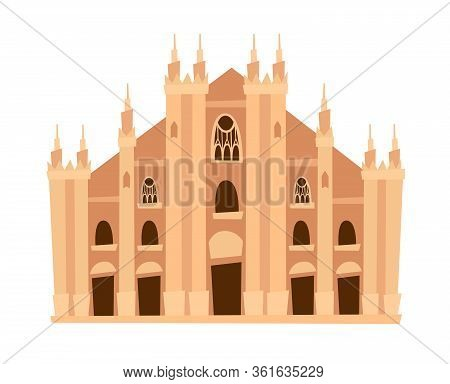 Milan Cathedral, Italy Architecture Landmark Vector Illustration. Milan, Old Italian Building. Ancie