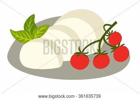 Cheese Buffalo Mozzarella Vector Illustration. Mozzarella Slice With Basil And Tomato Cherry. Cartoo