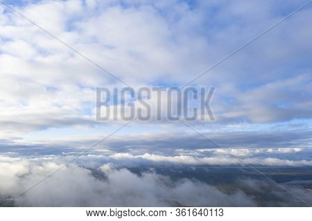 Aerial View Clouds. Aerial View Of Cloudscape. Aerial Drone Flying In The Sky. Aerial Top View Cloud