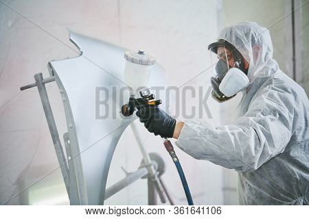 car painting in chamber. automobile repair service
