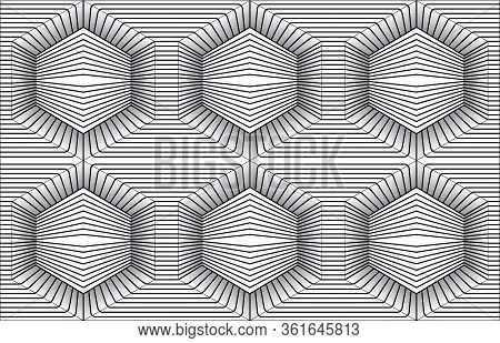 Black And White Optical Illusion. Optical Illusions Art. Design Seamless Twirl Movement Striped Geom