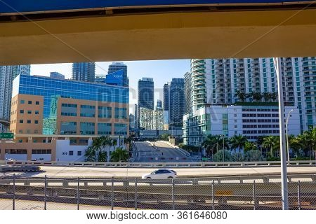 Miami, Usa - November 30, 2019: Downtown Miami Cityscape View With Condos And Office Buildings.