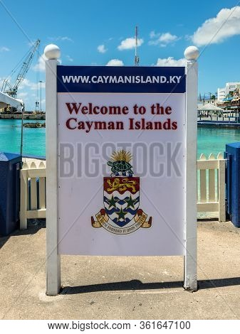 George Town, Grand Cayman Island, Uk - April 23, 2019: This Is A Colorful Welcome Sign