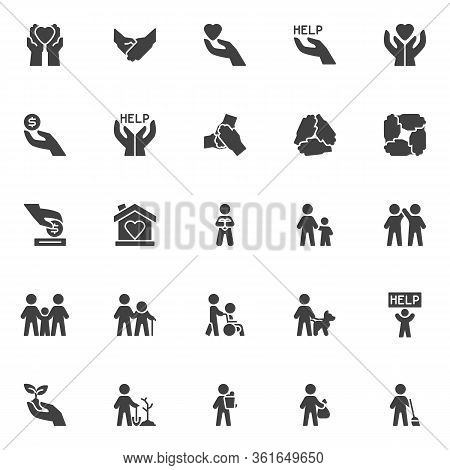 Volunteering Vector Icons Set, Modern Solid Symbol Collection, Volunteer Assistant Filled Style Pict