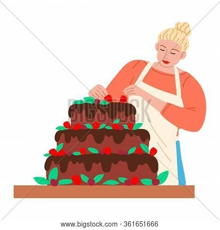 Woman Confectioner Or Baker Decorating Cake With Fresh Strawberries Vector Illustration