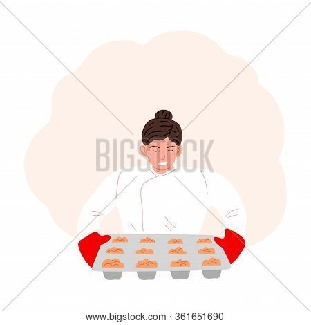 Woman Confectioner Or Baker Baking Cupcakes Vector Illustration