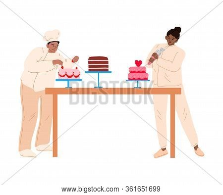 Bakers In Aprons Decorating Cakes With Fresh Strawberries And Cream Vector Illustration