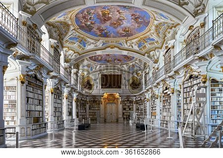 Admont, Austria - September 2018: General View In The Famous Abbey Library