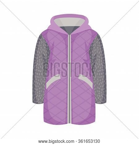 Zippered Anorak Or Coat With Hood And Side Pockets As Womenswear Vector Illustration