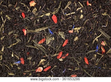 Black Tea With Slices Of Dried Cherry, Safflower Petals, Tasty, Natural