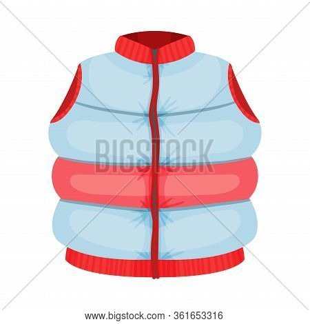 Padded Sleeveless Zippered Vest As Womenswear Vector Illustration