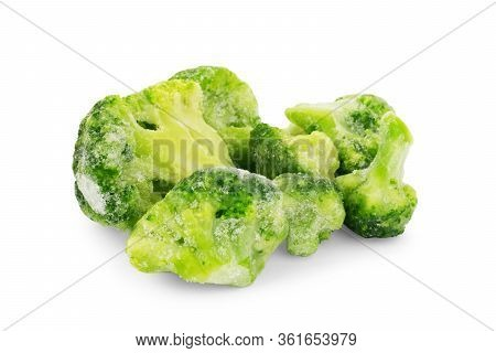 Frozen Broccoli With Ice And Snow. Isolated On White Background