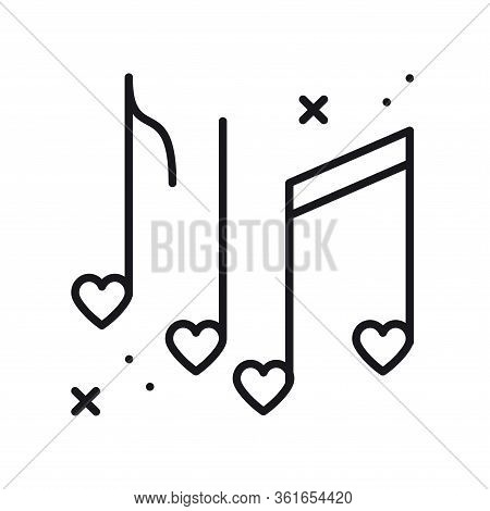 Music Notes With Hearts Line Icon. Disco, Dance, Nightlife, Club, Party Theme. Happy Valentine Day S