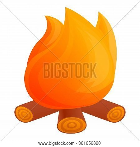 Campfire Icon. Cartoon Of Campfire Vector Icon For Web Design Isolated On White Background