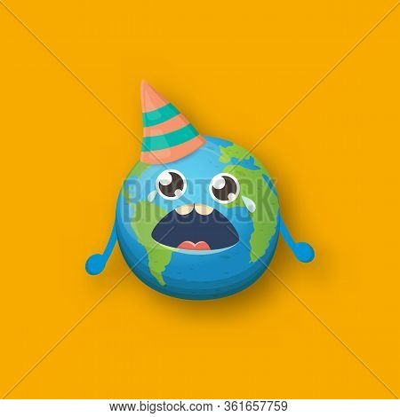 Cartoon Cute Crying Earth Planet Character With Funky Hat Isolated On Orange Background. Eath Day Or