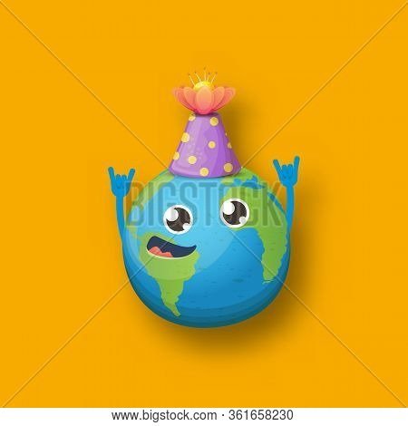Cartoon Cute Smiling Earth Planet Character With Funky Hat Isolated On Orange Background. Eath Day C