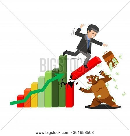 Stock Market Crash. World Economic Crisis And Recession. Sale Of Stocks, Businessman In Suit Falling