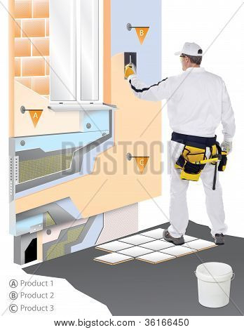 Construction Worker With Trowel Applied Plaster On 3D Wall
