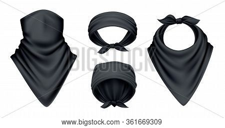 Bandana Scarf Buff Handkerchief Reailstic Black Set With Isolated Images On Blank Background With Di