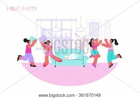 Pajama Party Flat Composition With Home Scenery And Dancing People In Pajamas With Sofa And Cat Vect