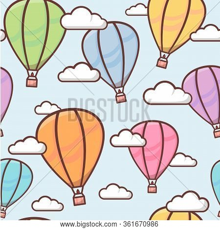 Seamless Pattern With Colorful Outline Balloons In The Sky With Clouds, Naive And Simple Background,