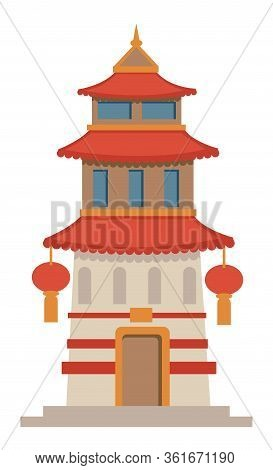 Asian Architecture, Historic Temple Or Tower With Lanterns