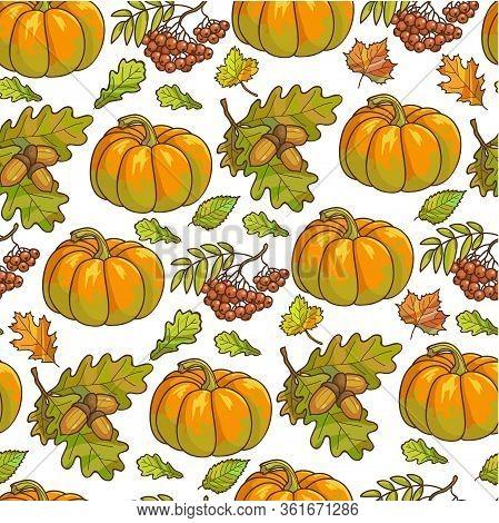 Ripe Pumpkin, Maple Leaves And Rowanberry Seamless Pattern