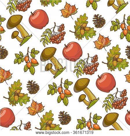 Ripe Apples, Mushrooms And Rowanberry, Autumn Seamless Pattern