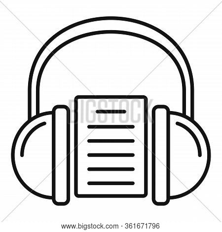 Headphones Audio Lesson Icon. Outline Headphones Audio Lesson Vector Icon For Web Design Isolated On