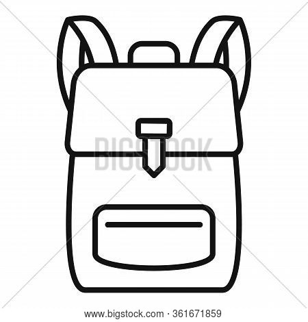 School Backpack Icon. Outline School Backpack Vector Icon For Web Design Isolated On White Backgroun