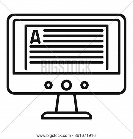 Online Computer Lesson Icon. Outline Online Computer Lesson Vector Icon For Web Design Isolated On W