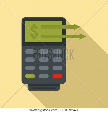 Money Transfer Terminal Icon. Flat Illustration Of Money Transfer Terminal Vector Icon For Web Desig