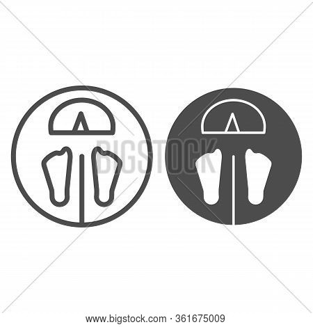 Floor Scales Line And Solid Icon. Floor Scales With Foot Symbol Illustration Isolated On White. Digi