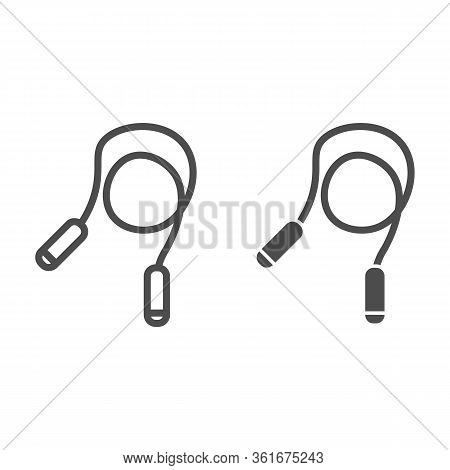 Jump Rope Line And Solid Icon. Exercise Rope Illustration Isolated On White. Skipping Rope Outline S