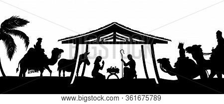 Christmas Nativity Scene Of Baby Jesus In The Manger With Mary And Joseph In Silhouette Surrounded B