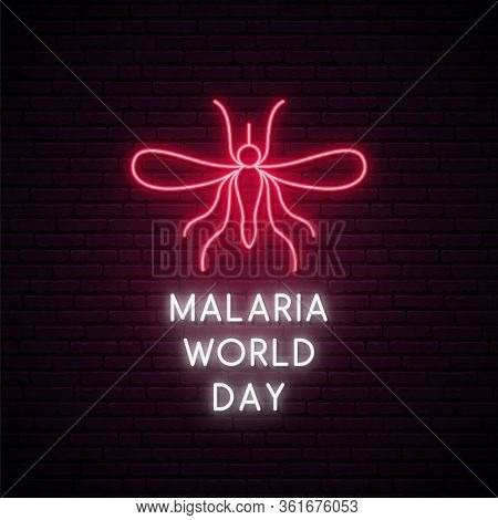 World Malaria Day Neon Signboard. Glowing Mosquito Icon. Stock Vector Illustration.