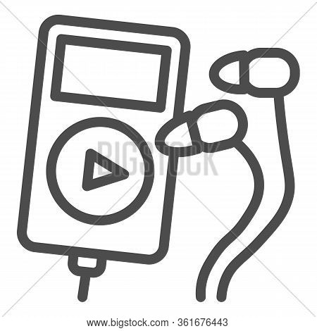 Player And Headphones Line Icon. Small Mp3 Player For Sport Illustration Isolated On White Music Pla