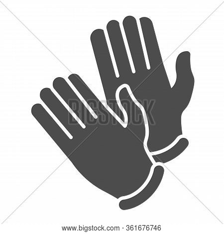 Disposable Medical Rubber Gloves Solid Icon. Pair Of Gloves Glyph Style Pictogram On White Backgroun